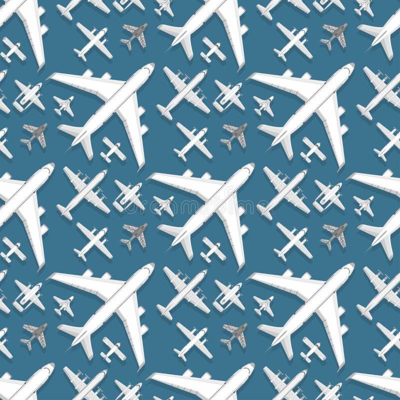 Der Musterhintergrundvektorillustration des Flugzeuges entwerfen nahtlose Draufsichtflächen- und -flugzeugtransportreiseweise lizenzfreie abbildung