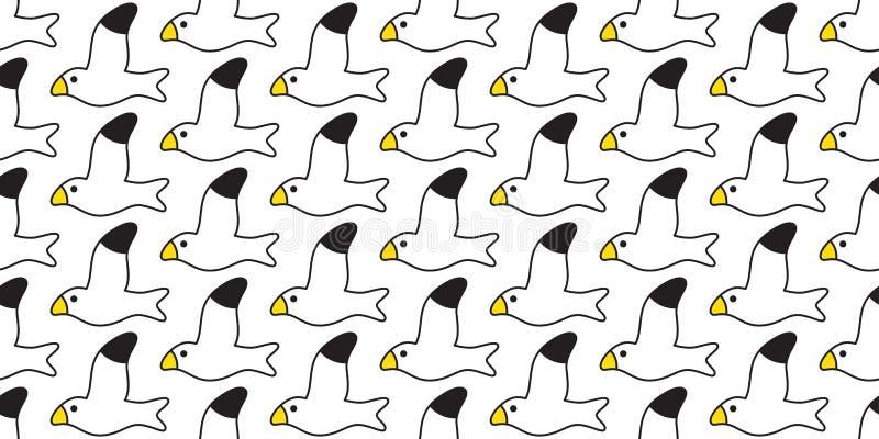 Der Mustervektorseemöwe des Vogels nahtloser Karikaturfliesentapetenwiederholungshintergrund-Illustrationsentwurf Schal lokalisie stock abbildung