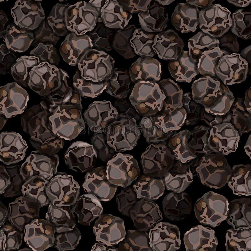 Der Nahaufnahmevektor-Illustration des schwarzen Pfeffers nahtloses Muster stockfoto