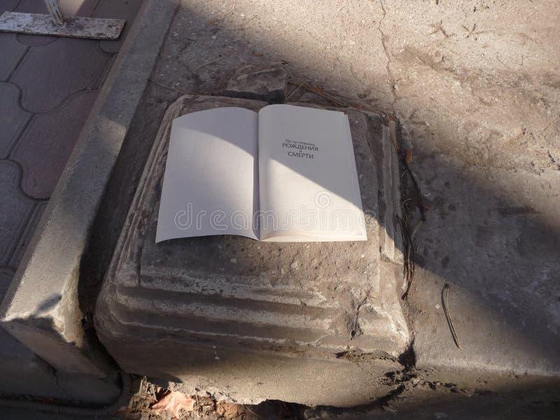 Der Name des Buches 'auf der anderen Seite der Geburt und des Todes ` lizenzfreie stockfotos
