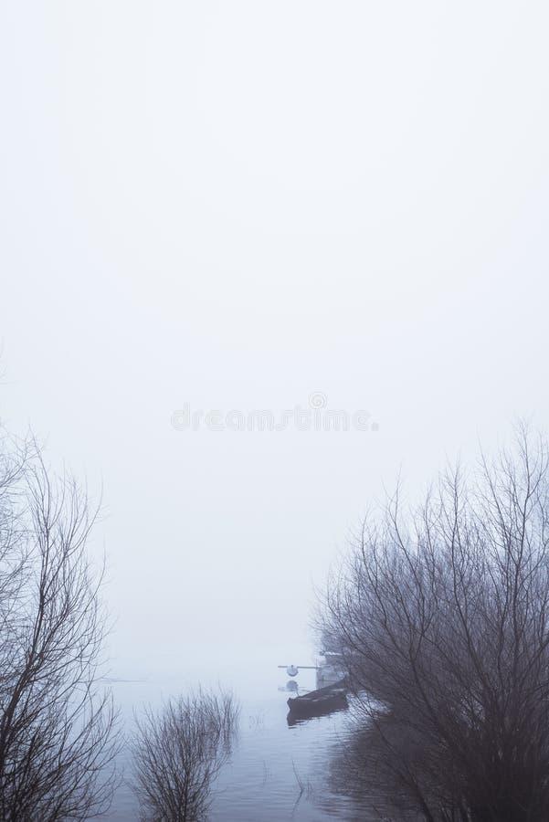 Der Nebel auf dem Fluss lizenzfreie stockbilder