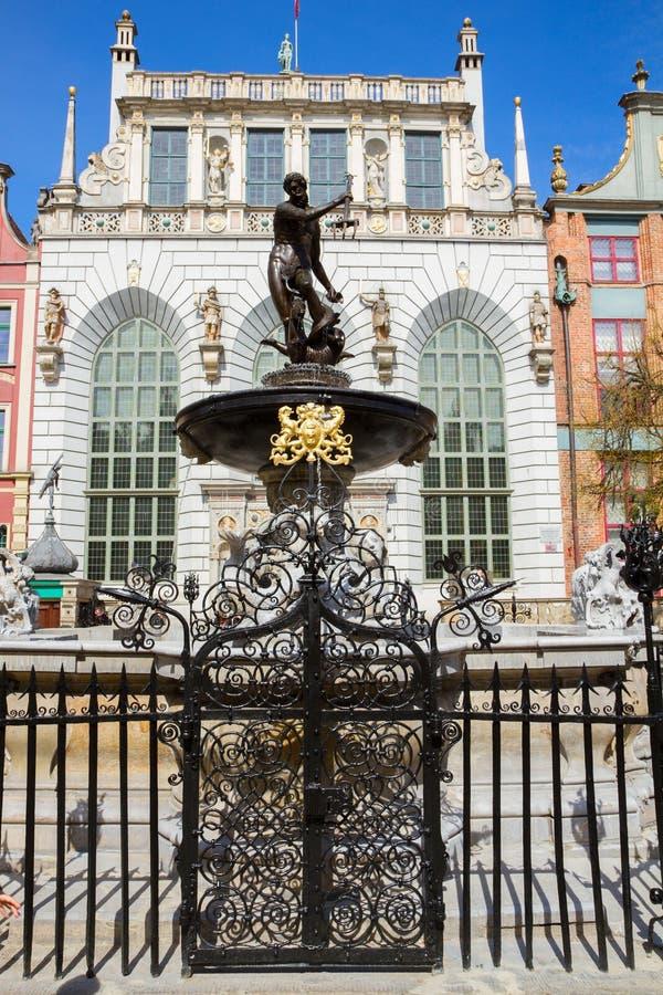 Der Neptun-Brunnen, Gdansk stockbilder