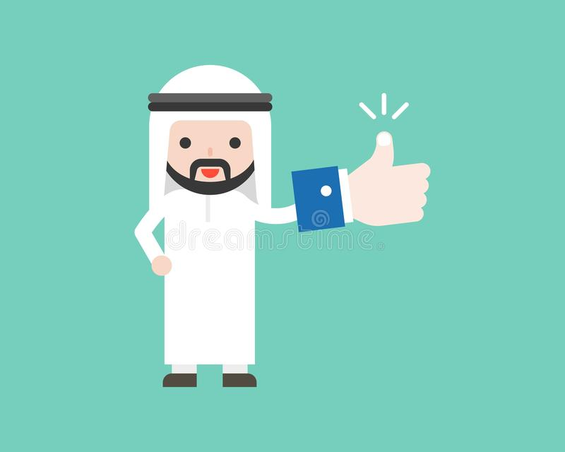 Der nette arabische Geschäftsmann, der Daumen herauf oder wie hält, unterzeichnen herein seine Hand lizenzfreie abbildung