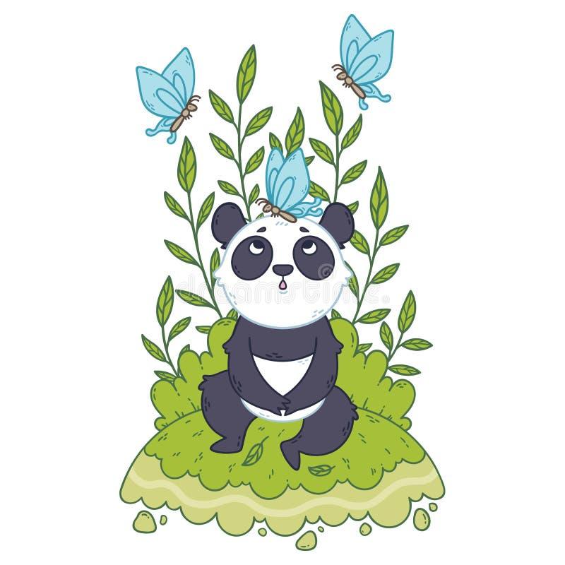 Der nette B?r des kleinen Pandas, der in einer Wiese sitzen und die blauen Schmetterlinge fliegen herum stockfoto