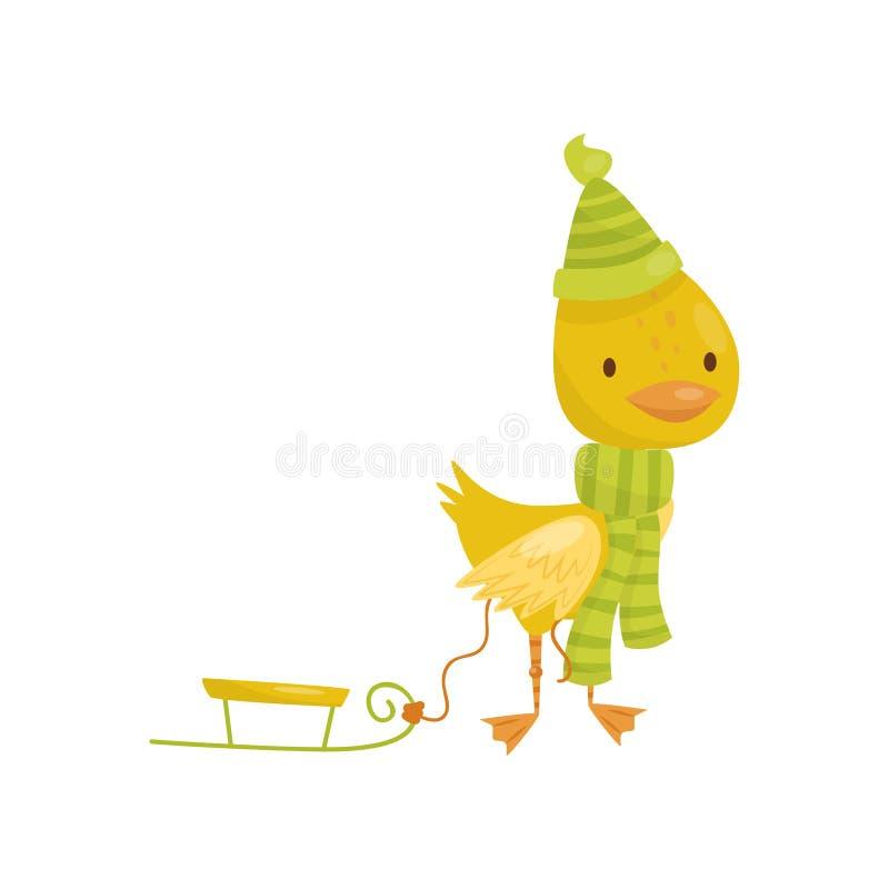 Der nette kleine gelbe Entleincharakter im grünen Schal und der Hut, die mit Schlitten gehen, vector Illustration auf einem weiße vektor abbildung