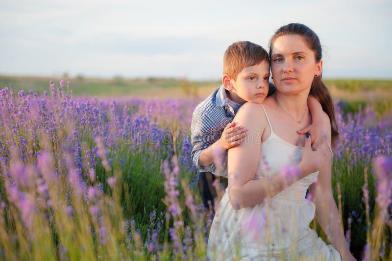 Der nette kleine Junge, der hübsche Mutter unter Sommerfeldern des Lavendels umarmt, blüht am warmen goldenen Sonnenuntergangtag lizenzfreies stockfoto