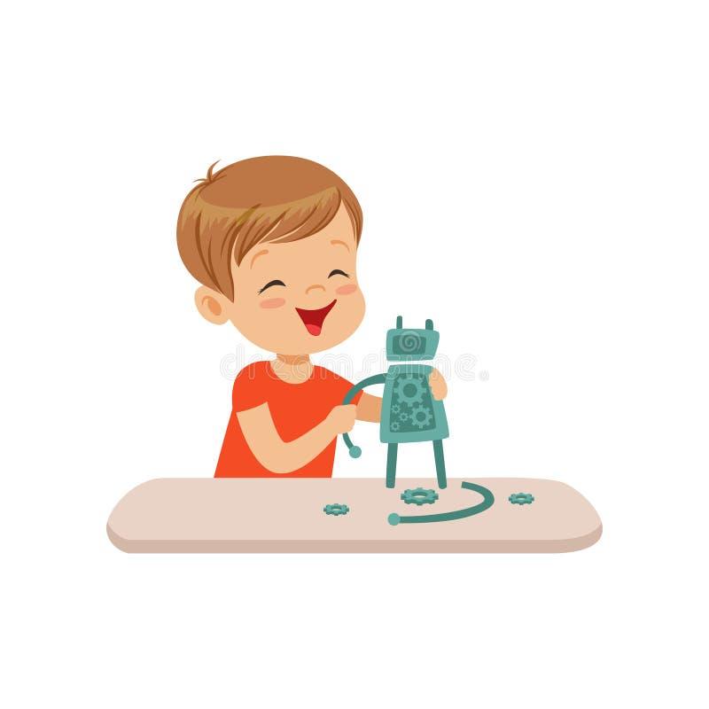 Der nette kleine Junge, der intelligenten Roboter, Robotik herstellt und für Kinder programmiert, vector Illustration auf einem w stock abbildung