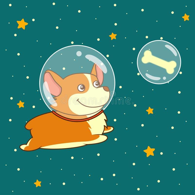 Der nette lächelnde Hund, der im Spacesuit gekleidet wird, fliegt in Weltraum unter Verwendung, auf sternenklarem Raumhintergrund stock abbildung