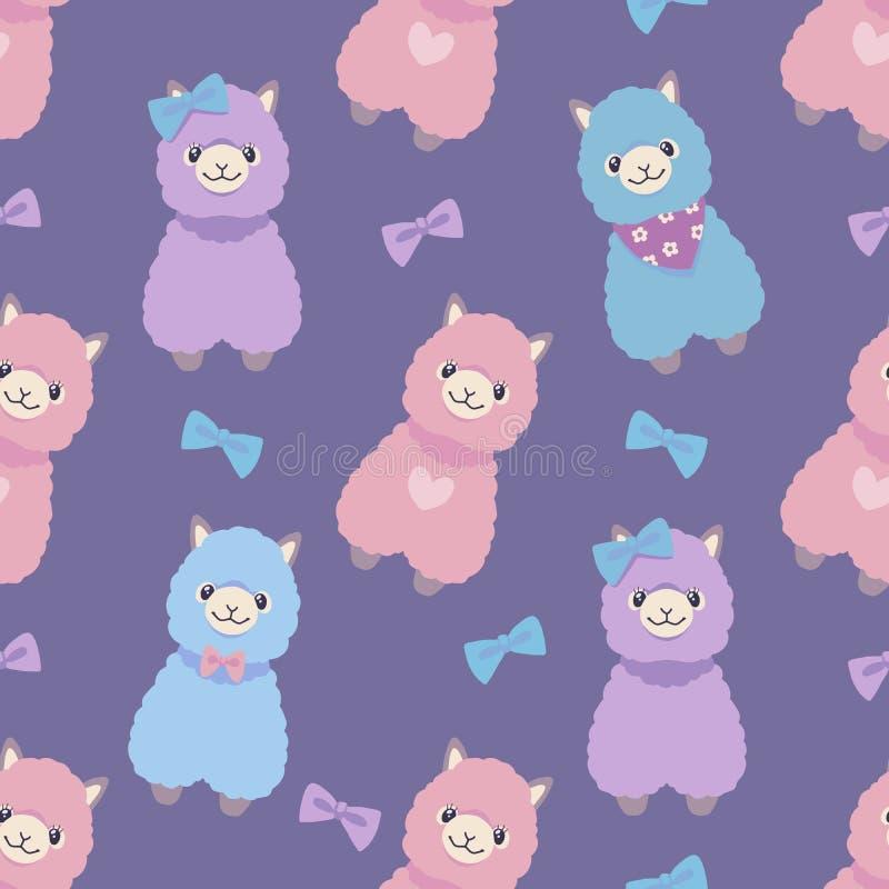 Der netten bunten purpurroten tierisches nahtloses grafisches Illustrationsmuster Karikaturpastellart des Alpakas oder des Lamas lizenzfreie abbildung
