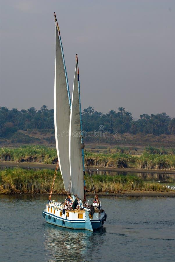 Der Nil, nahe Assuan, am 16. Februar 2017: Heck eines zwei-bemasteten Schiffs der lateinischen Segel typisch von Ägypten mit Sitz lizenzfreie stockfotos