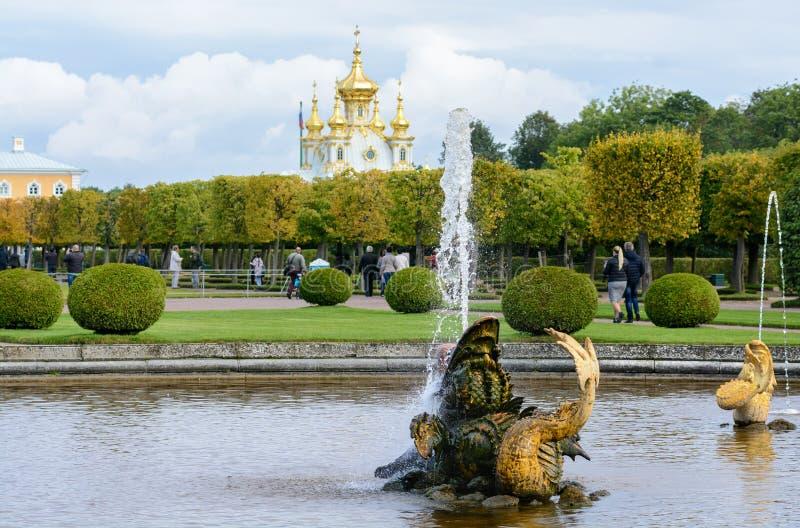 Der obere Park wurde unter Zar Peter I hergestellt Es ist in Peterhof zwischen St- Petersburgallee und dem großartigen Peterhof stockbilder