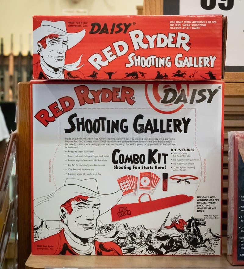 Der offizielle rote Ryder-BB Gewehr-Zusatz-illustrative Leitartikel stockfotos