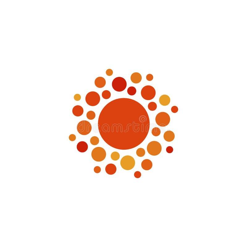 Der orange einfache Ikone Farbzusammenfassung Sun Gerundete sonnige Kreisform Sommertagessymbol und Vektorlogo vektor abbildung