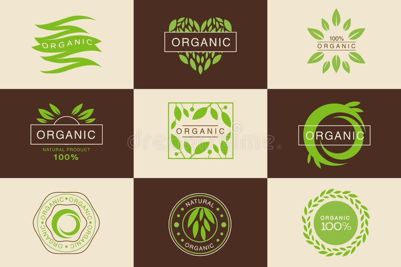 Der organische 100-Prozent-Produktlogo-Schablonensatz, natürlich, Ausweise Sammlung, Gestaltungselemente des strengen Vegetarier lizenzfreie abbildung