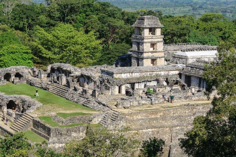 Der Palast, alte Mayastadt von Palenque, Mexiko stockfoto