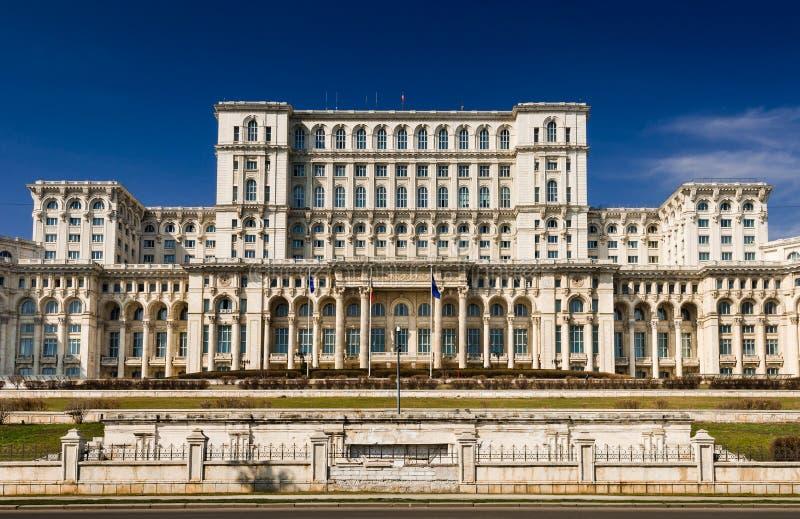 Parlament der Rumänien-Gebäudefassade, Bucharest lizenzfreies stockfoto