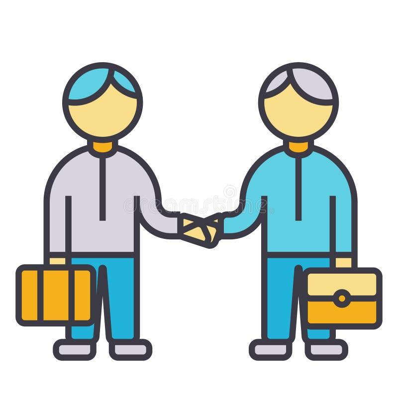 Der Partnerschaftshändedruck, flaches Zeilendarstellung zusammenarbeitend, Konzeptvektor lokalisierte Ikone lizenzfreie abbildung