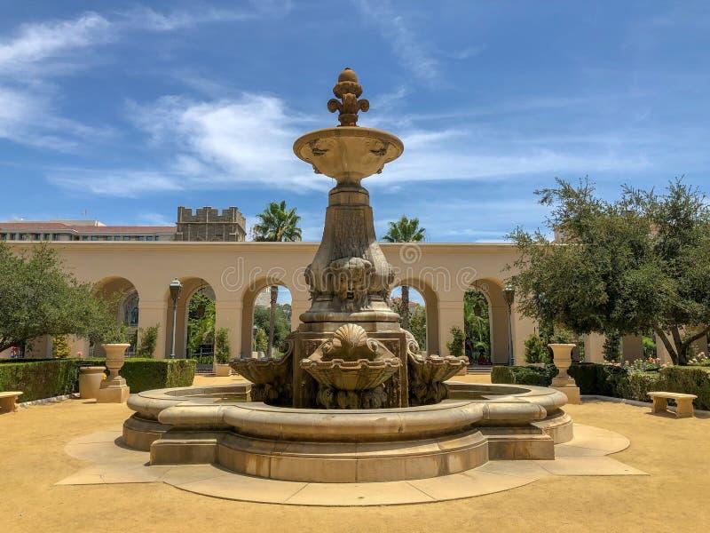Der Pasadena-Rathaus-Garten und -brunnen stockfotos