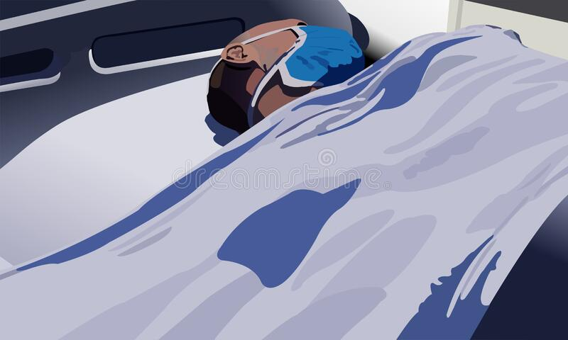 Der Patient liegt im Bett lizenzfreie stockbilder