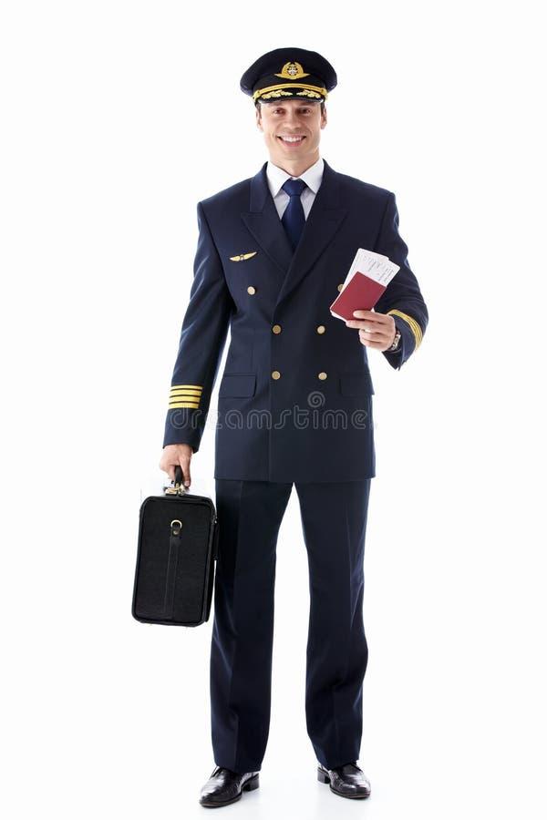 Der Pilot mit der Karte stockfotos