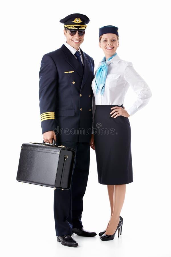 Der Pilot und der Stewardess lizenzfreies stockbild