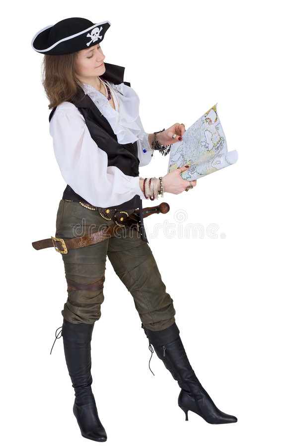 Der Pirat - junge Frau mit Karte stockfotos