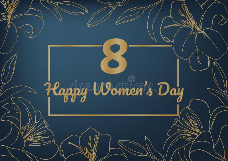 Der Plan der Postkarte für den internationalen Tag der Frauen am 8. März Goldlilien auf dunkelblauem Hintergrund Die Karte ist vo stock abbildung