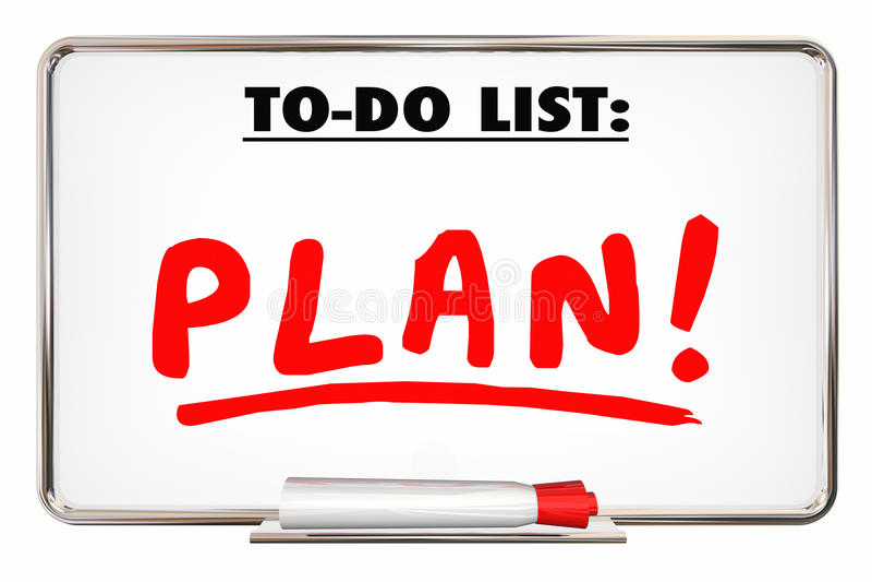 Der Plan, zum von Listen-Schreibens-Wort-Priorität zu tun organisieren Aufgaben stock abbildung