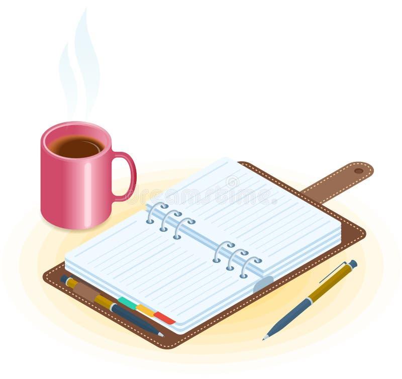 Der Planer, der Stift und der Becher des Kaffees Flacher Vektor isometrisches illust stock abbildung