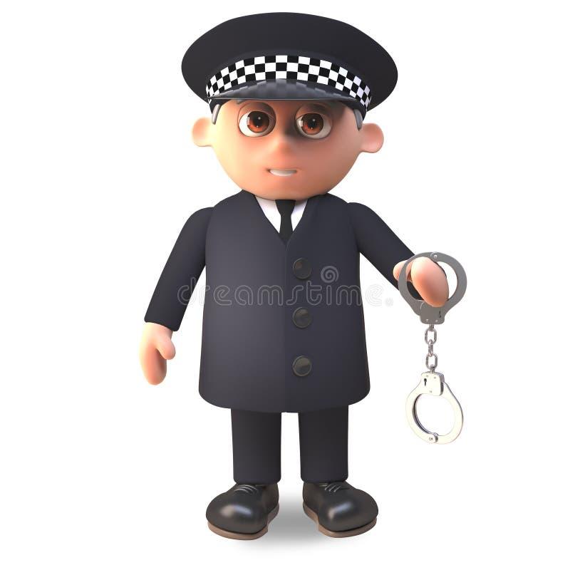 Der Polizeibeamte der Karikatur 3d, der in der Uniform im Dienst ist, schwingt ein Paar Handschellen, Illustration 3d stock abbildung