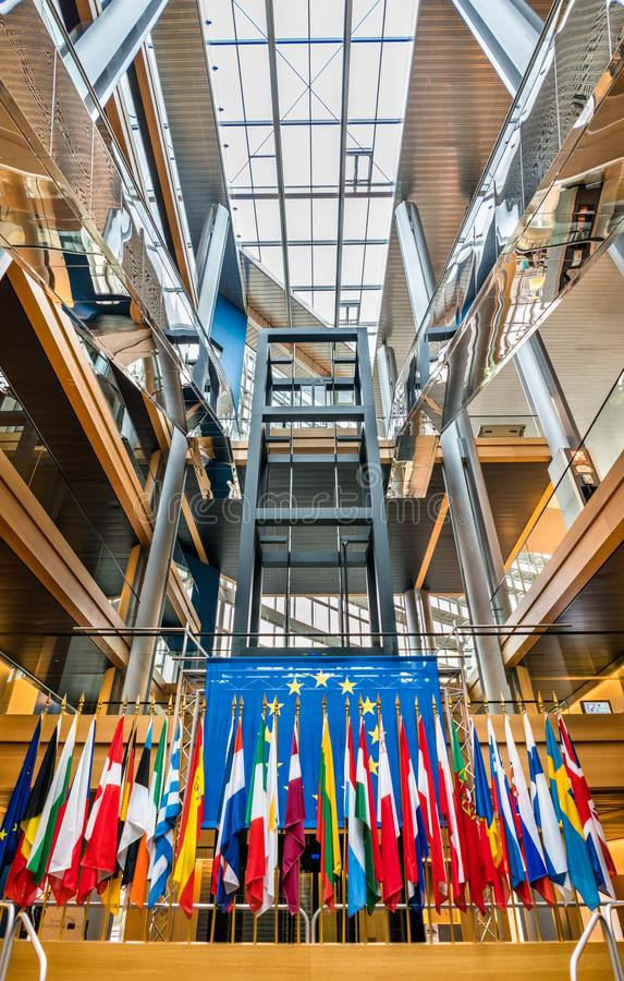 Der Presseraum des Europäischen Parlaments in Straßburg, Frankreich stockfotografie