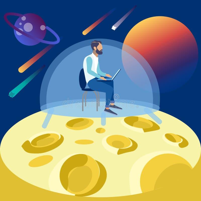 Der Programmierer arbeitet an dem Mond, Abgeschlossenheit im Raum Im flachen Raster unbedeutender Art Karikatur vektor abbildung