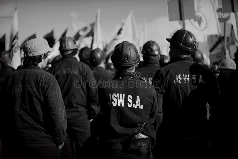 Der Protest Aktion-vom Streik von schlesischen Bergmännern stockfoto