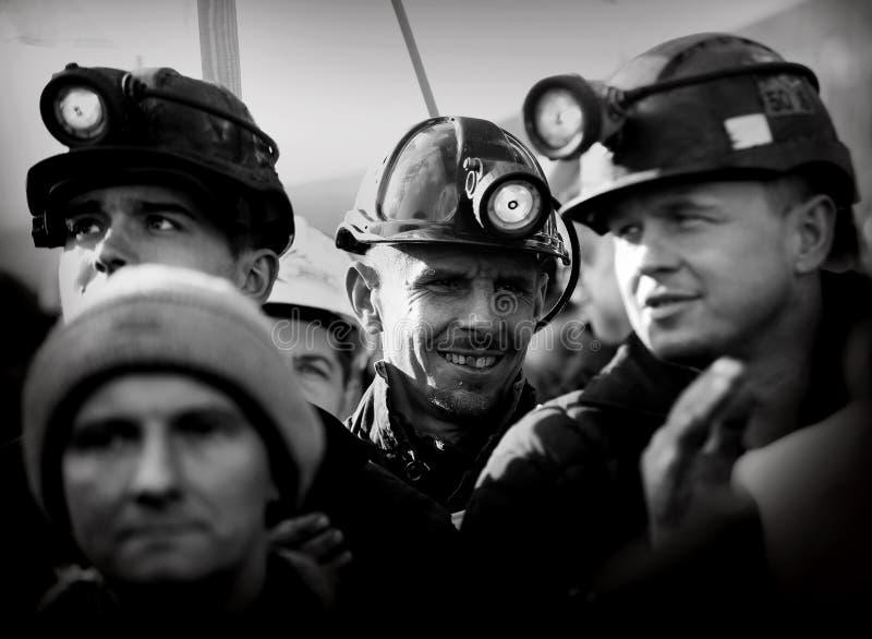 Der Protest Aktion-vom Streik von schlesischen Bergmännern lizenzfreie stockfotos