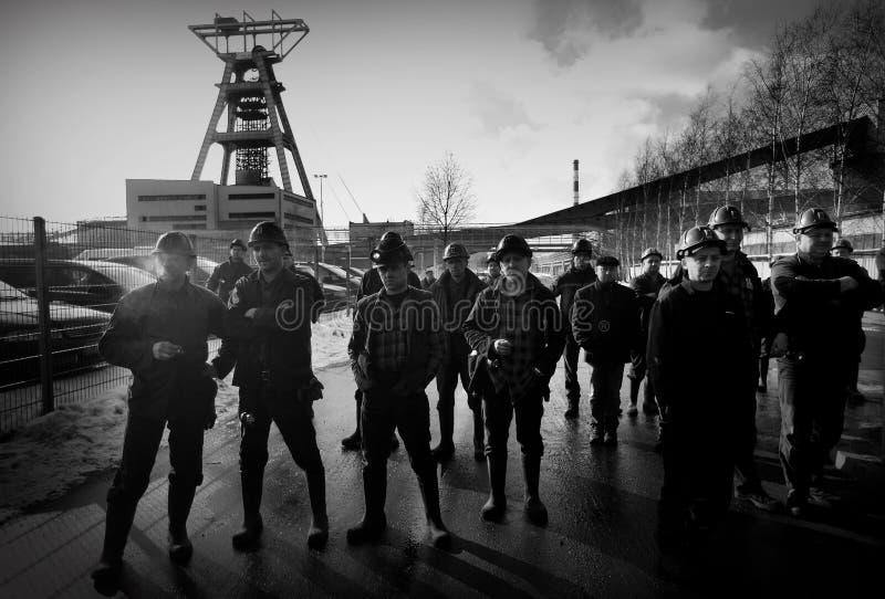 Der Protest Aktion-vom Streik von schlesischen Bergmännern stockfotografie