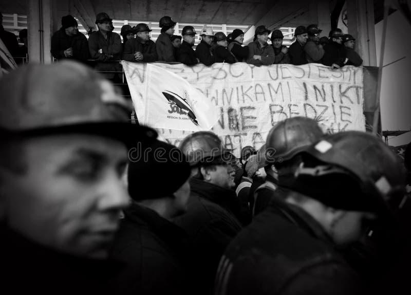 Der Protest Aktion-vom Streik von schlesischen Bergmännern stockbild