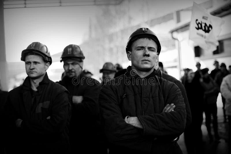Der Protest Aktion-vom Streik von schlesischen Bergmännern stockbilder