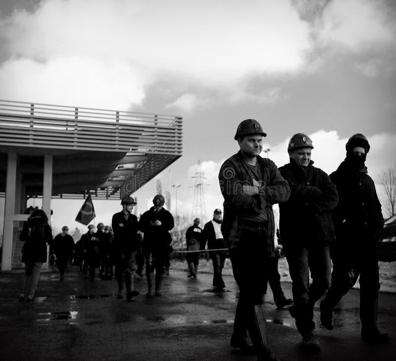 Der Protest Aktion-vom Streik von schlesischen Bergmännern lizenzfreies stockbild