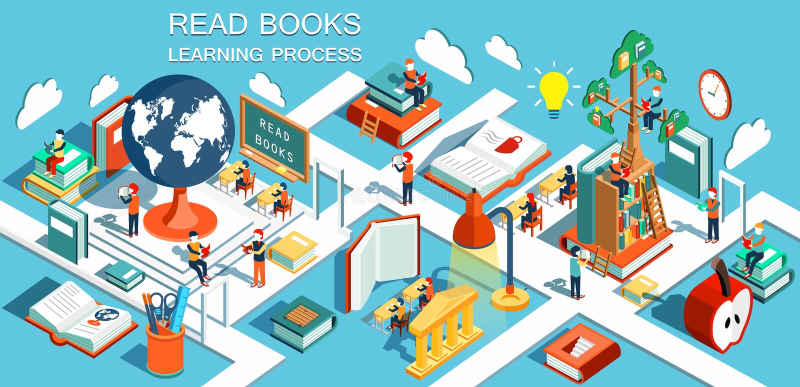 Der Prozess der Bildung, des Konzeptes der Lernen- und Lesebücher in der Bibliothek und im Klassenzimmer lizenzfreie abbildung