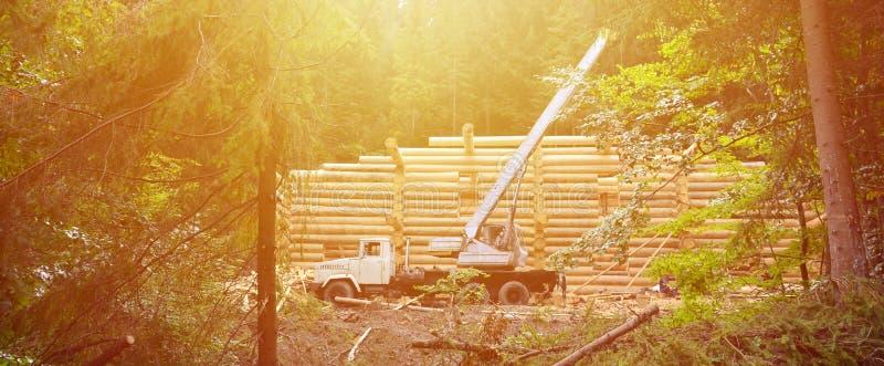 Der Prozess des Bauens eines Holzhauses von den Holzbalken der Zylinderform Kran in der Arbeitsbedingung stockfoto