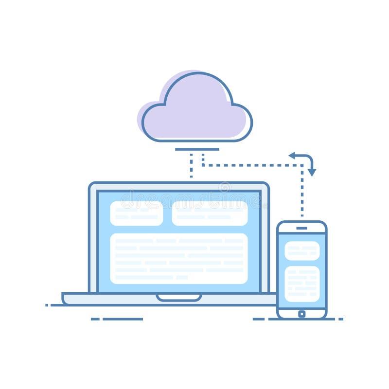 Der Prozess des Synchronisierens von Daten von einem Handy und von einem Laptop Speicherung von Daten im Wolkenspeicher Vektor lizenzfreie abbildung