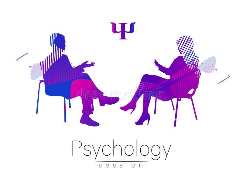Der Psychologe und der Kunde psychotherapie Abstrakte geometrische Formen Flüssige Art Psychologische Beratung Mann vektor abbildung