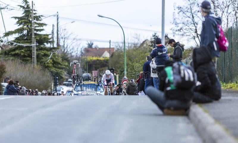 Der Radfahrer Boy van Poppel - Paris-nettes 2016 lizenzfreie stockbilder