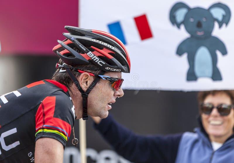 Der Radfahrer Cadel Evans stockfotografie