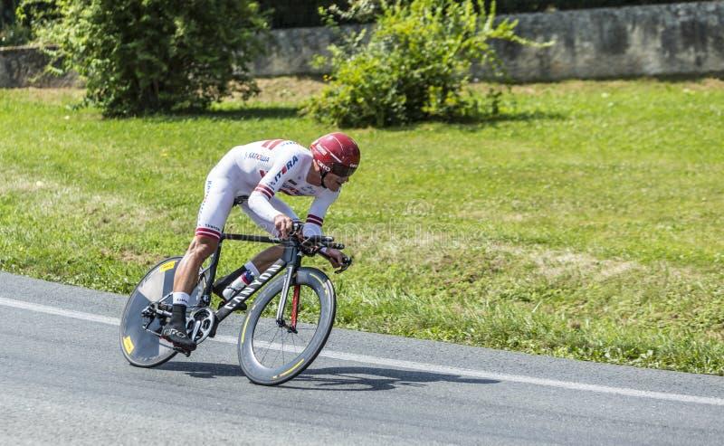 Der Radfahrer Gatis Smukulis lizenzfreies stockbild