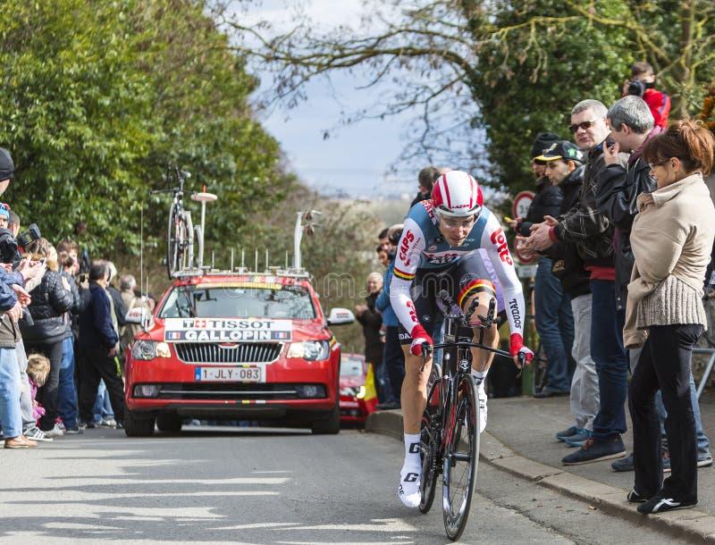 Der Radfahrer Tony Gallopin - Paris-nettes 2016 stockfotos