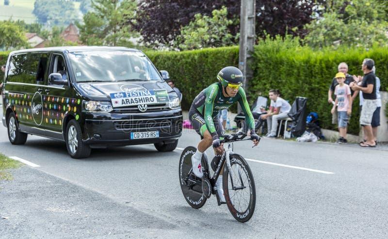Der Radfahrer Yukiya Arashiro - Tour de France 2014 stockbilder