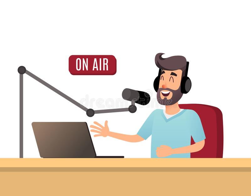 Der Radiovorführer spricht auf der Luft Ein junger Radio DJ in den Kopfhörern arbeitet an einem Radiosender Sendungen flach stock abbildung