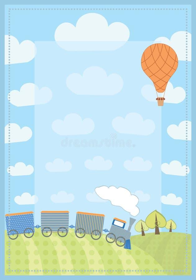 Der Rahmen des Kindes mit Zug und Ballon lizenzfreie abbildung
