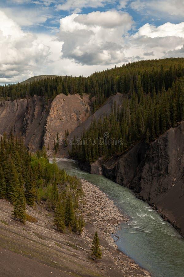 Der Ram River Canyon im Vorgebirge der kanadischen Felsgebirge lizenzfreies stockfoto